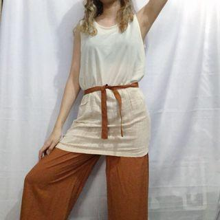 White and Peach Linen Long Top / Dress Top