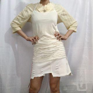 White see-through dress top with ruffle details