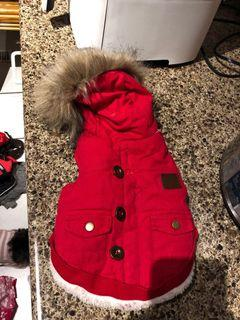 Xs/S Red Winter Jacket w/ Faux Fur for Dog
