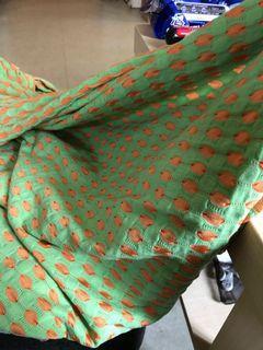 淺綠橘色撞色彈性布料 135*140cm