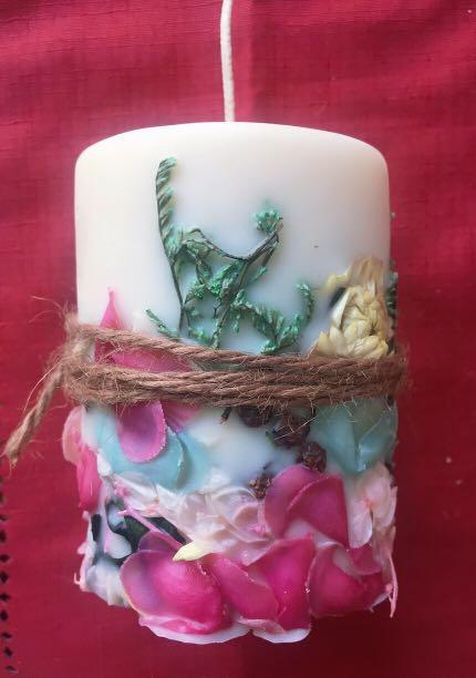 手工製作乾燥花蠟燭