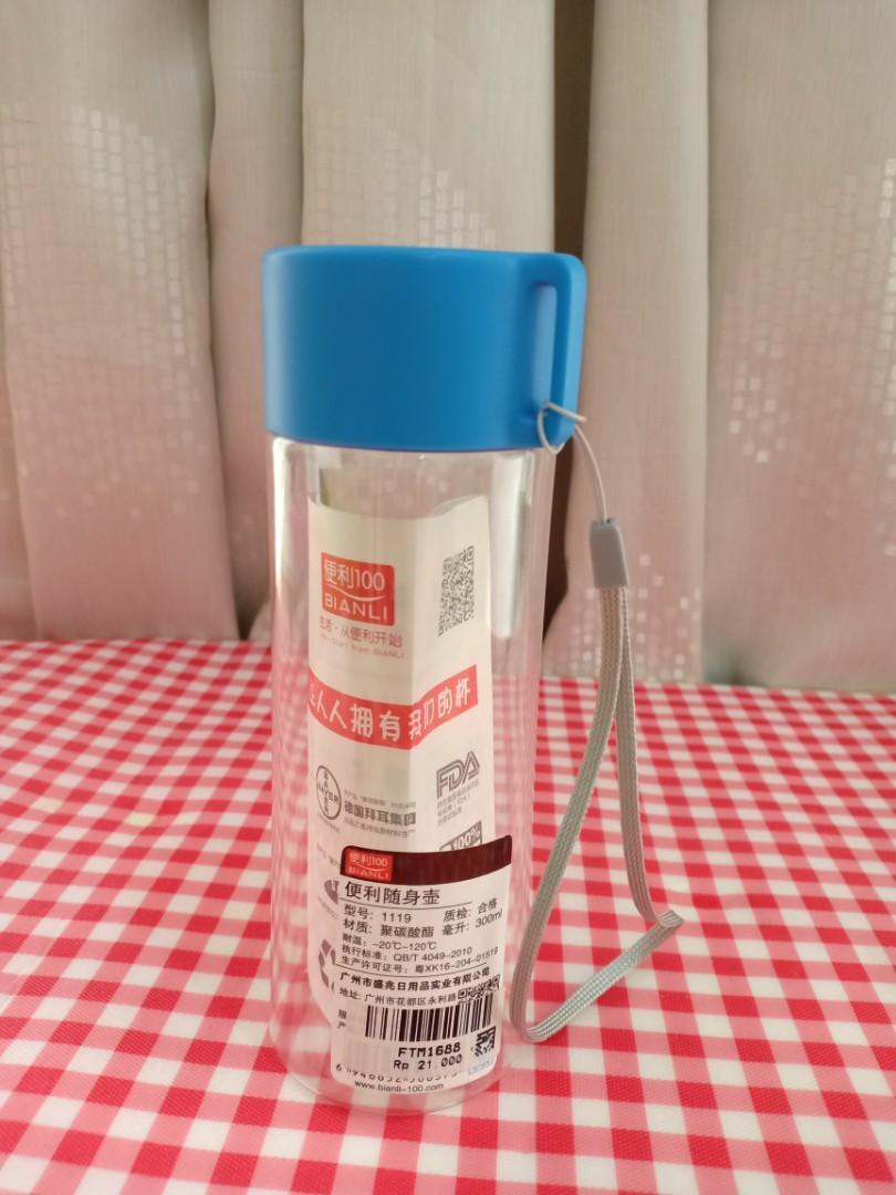 Botol minum transparant tutup karet + tali strap 300ml