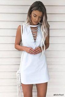 Forever 21 Lace Up Mini Dress - White