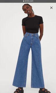 Hnm Wide High Jeans Blue Original