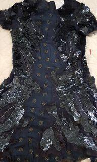 Meadham Kirchhoff Dark Navy Blue Sequined Dress with Multicolored Stones
