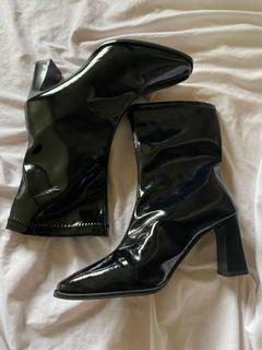 Patent Leather Boots in Black