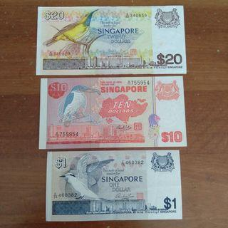 [SOLD] Singapore bird $20 $10 $1 paper notes VF-EF