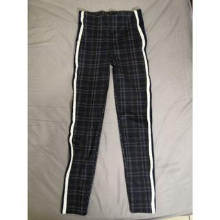 [ZARA] 高腰深藍格紋運動風緊身褲 窄管褲
