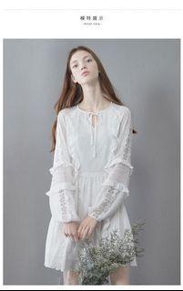雪紡荷葉邊仙氣白洋裝