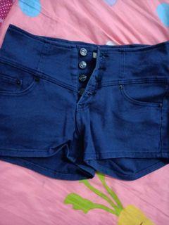 全新高腰藍色短褲