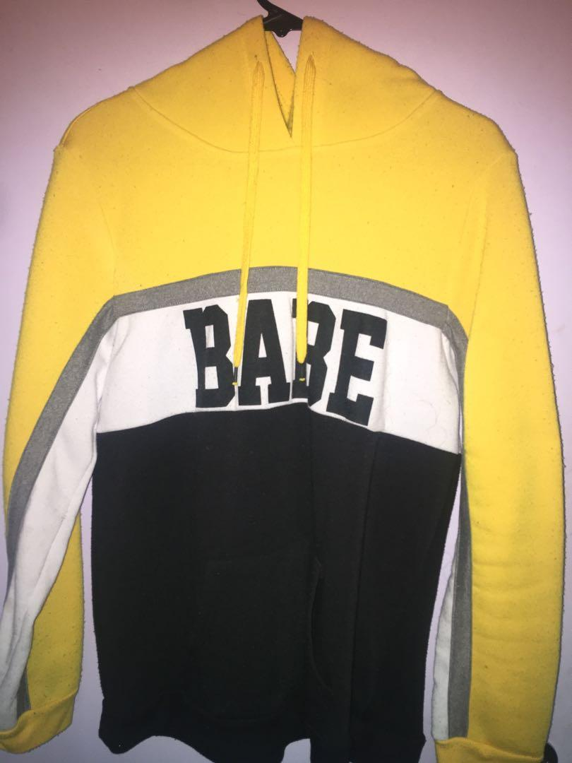 """Babe"" yellow and black hoodie"