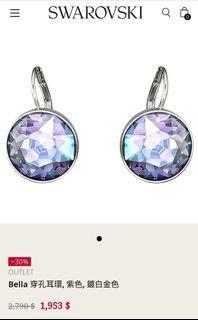 施華洛世奇耳環-Bella 穿孔耳環, 紫色, 鍍白金色#我媽的