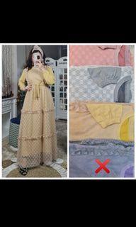 Dress gamis warna nude mewah sparkle tile brukat meijiwang bukan extu vivorie yuna ozias NWT