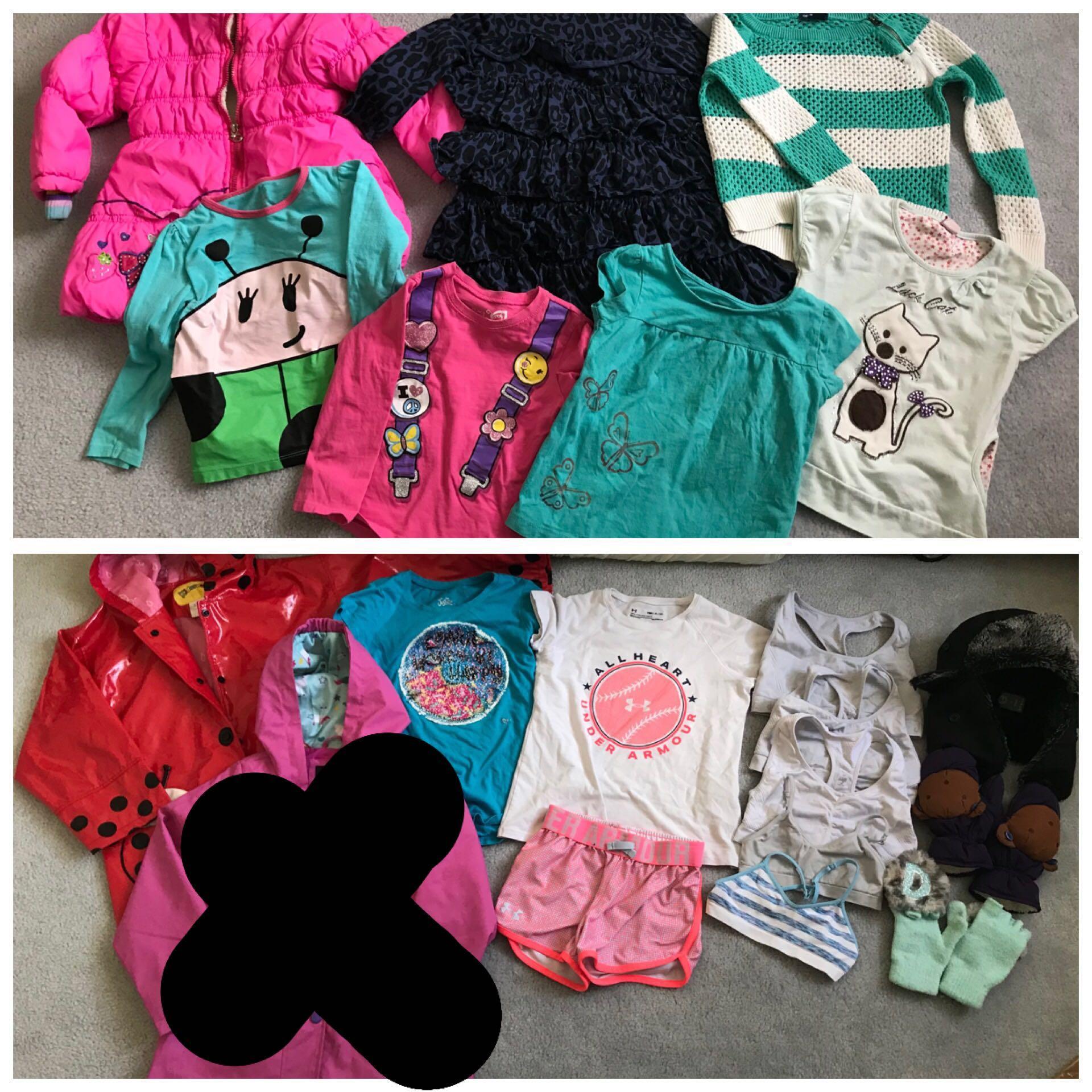 EUC girl raincoat /jacket / clothing lots 4-6T, 6-7T (total 19 items)