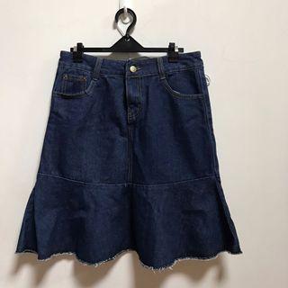 Polylulu 深藍色魚尾牛仔裙L💙