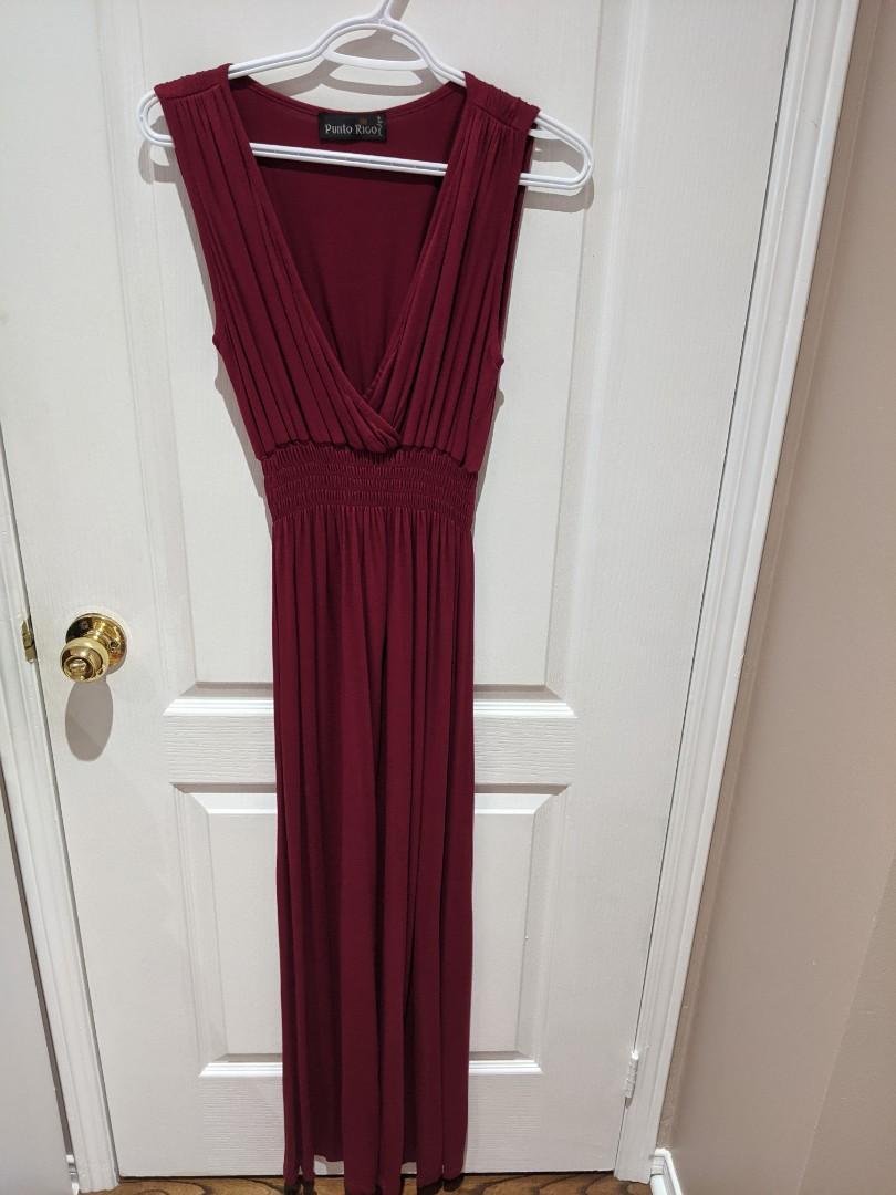 V Neck Red Maxi Dress