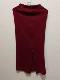 酒紅針織開叉包裙