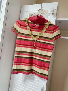 專櫃品牌 法國娃娃漸層撞色V領針織上衣 短袖針織上衣