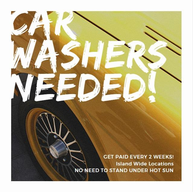 🚘CAR WASHERS NEEDED🚘 ISLAND WIDE 🚙 $1,800 BIWEEKLY PAYMENT AVAIL🧽 6 DAYS WORK WEEK