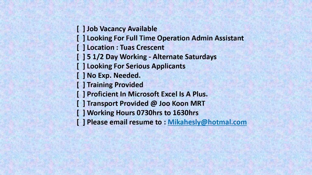 Full-Time Operation Admin Assistant