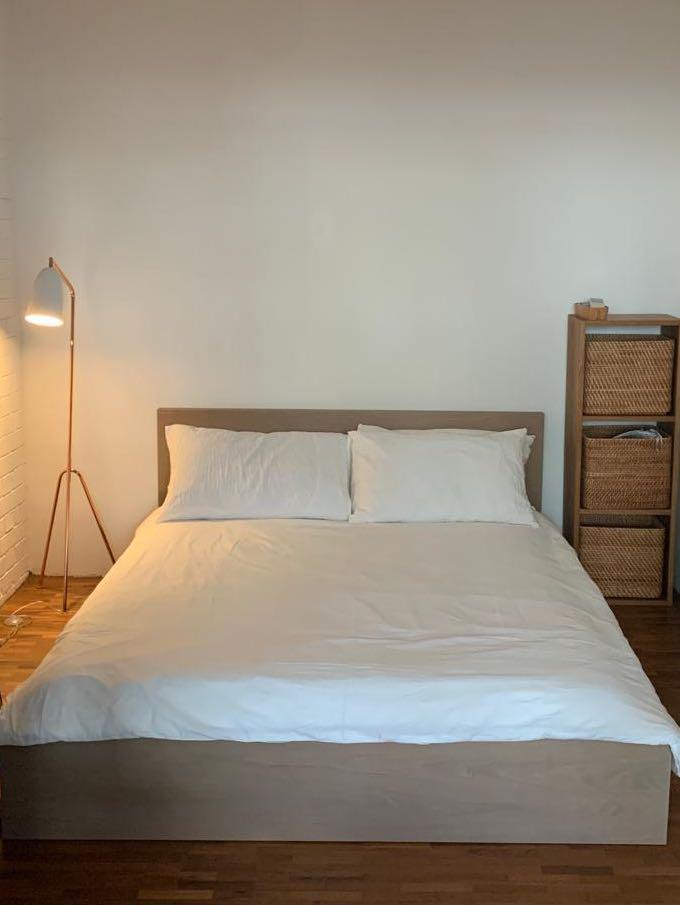 Ikea Malm Bed Queen White Stained Oak Furniture Beds Mattresses On Carousell