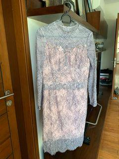 Pink and gray lace dress