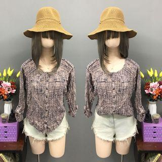 Pink longsleeve blouse (size: small)