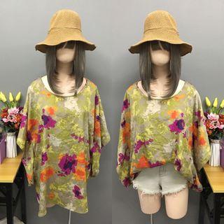 Plus size green floral blouse (size: 2x-3x)