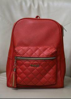 Red genuine leather backpack from japan