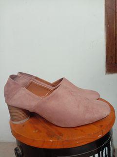 Sepatu heels heel wanita shoes model Angkle boots suede pink sepatu kantor casual