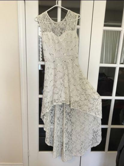 Sequined White Lace Dress