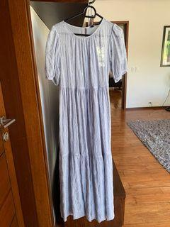 Zara baby blue embroidered sheer maxi dress with lining