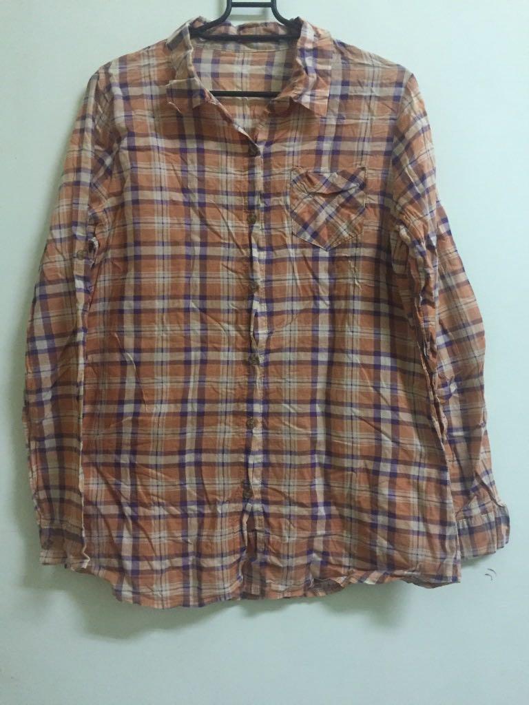 **買贈**夏天冷氣室防曬輕薄格紋襯衫罩衫#戶外