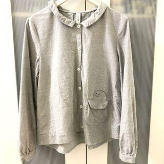 alasha2020灰色口袋厚襯衫