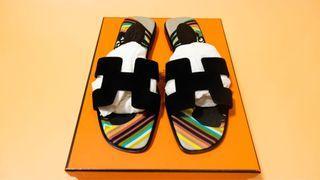 Hermés Oran black suede slipper sandals