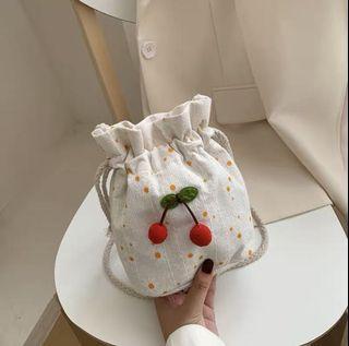 [PO] Cherry Drawstring Pouch/Sling Bag