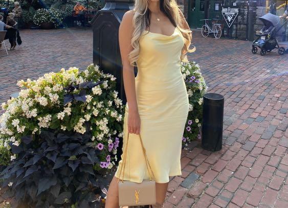 Yellow satin dress top shop
