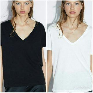 ZARA V-Neck Black/Off White Shirt/Tee Bundle