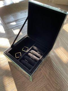 鏡面花紋飾品雙層收納盒