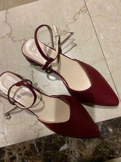 尖頭酒紅色低跟鞋 24cm