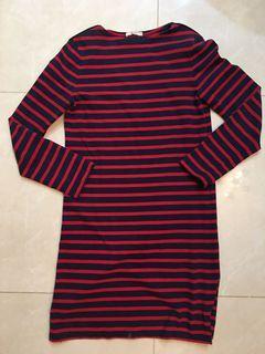 Celine 經典紅藍條紋休閒洋裝M號