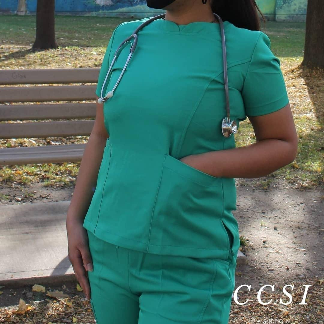 Green Medical Scrub Suit Uniform Top