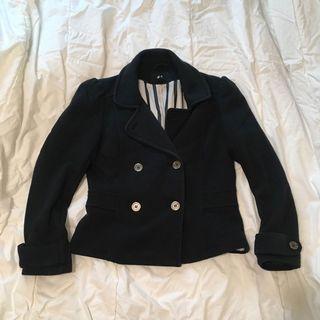 H&M黑色排扣外套