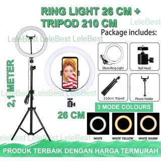 PAKET KOMPLIT RINGLIGHT 26CM + TRIPOD 2,1 METER MAKE UP VLOG LAMPU RINGLIGHT