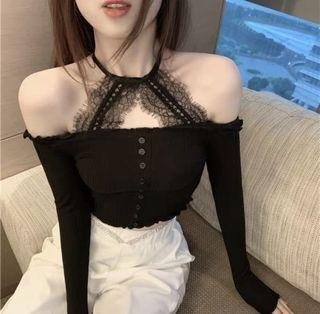 性感蕾絲一字領掛脖上衣