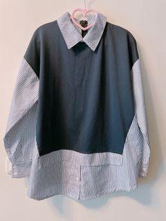 韓拼接雙色直條紋長袖襯衫 藍