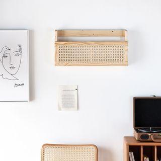 [全新] 北歐原木藤編壁掛置物架收納架書架雜誌架多功能牆面裝飾