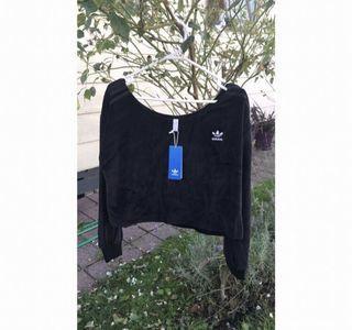Adidas Originals Relaxed Risque Velour Off The Shoulder SweatShirt