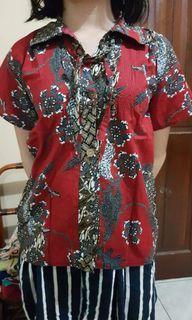 Atasan batik maroon |kemeja batik wanita maroon