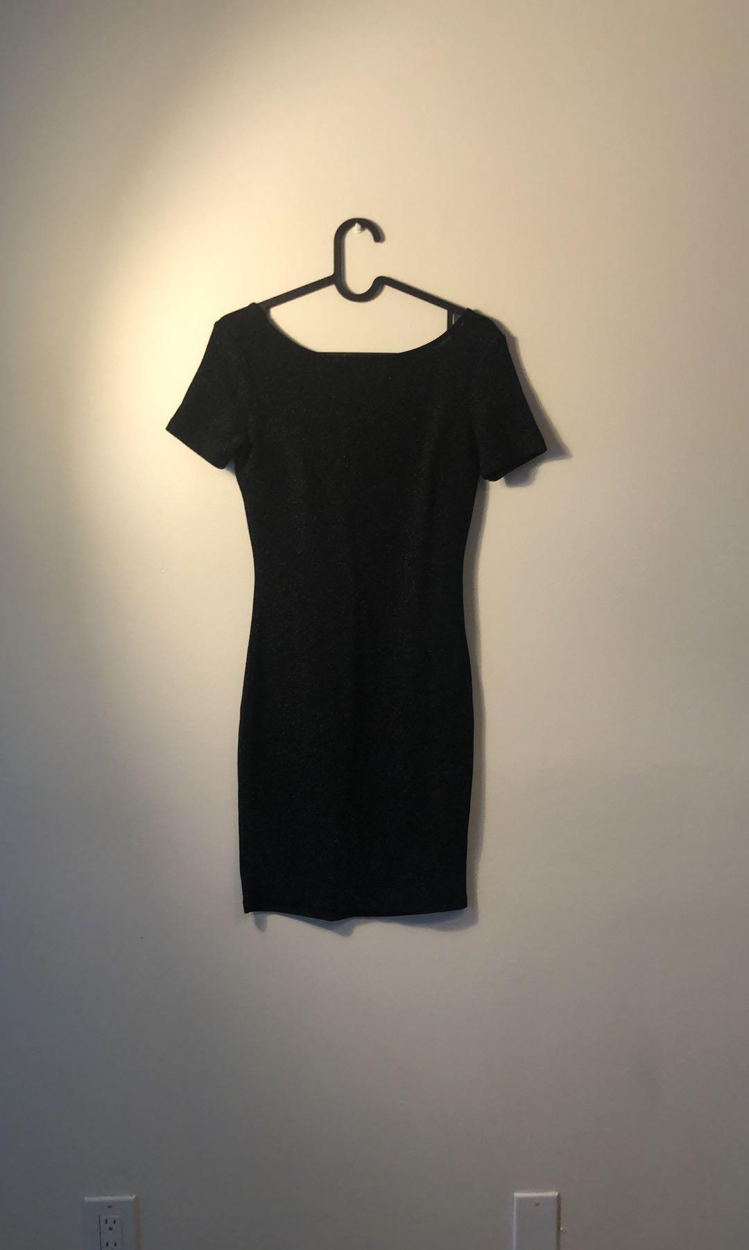 Black shimmering cocktail dress